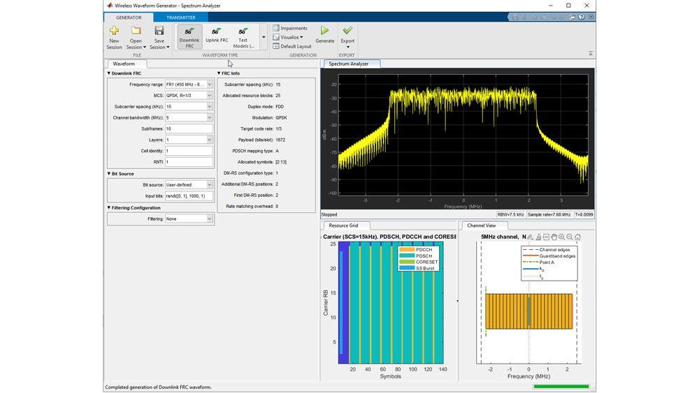 Génération de modèles de test avec l'application Wireless Waveform Generator.