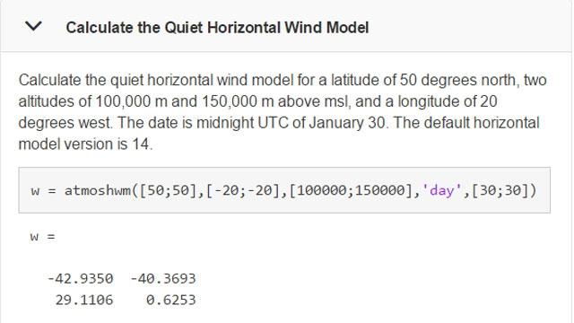 Exemple illustrant l'utilisation de la fonction atmoshwm.