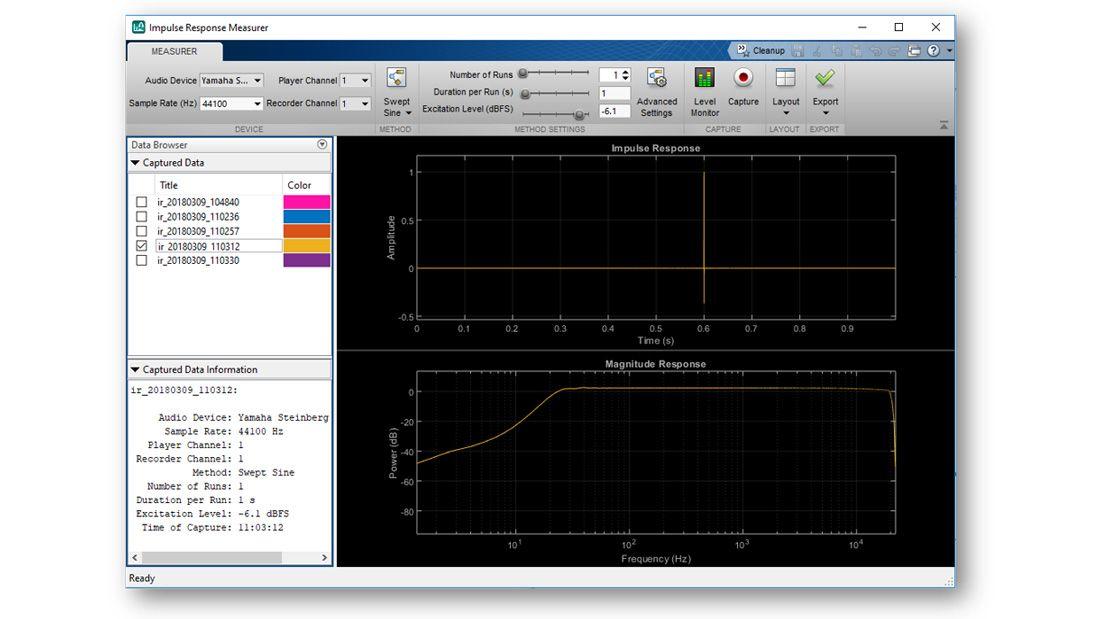 Capture de l'application Impulse Response Mesurer, qui montre une estimation de la réponse dans le domaine temporel et fréquentiel, un menu avec une liste d'autres estimations de réponses impulsionnelles disponibles pour un tracé, ainsi que d'autres contrôles interactifs disponibles dans l'application.