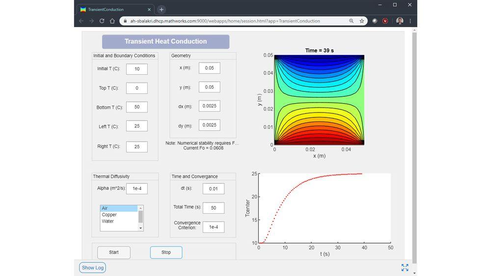 Application web de conduction thermique transitoire développée sous Windows et fonctionnant sur un serveur Linux.