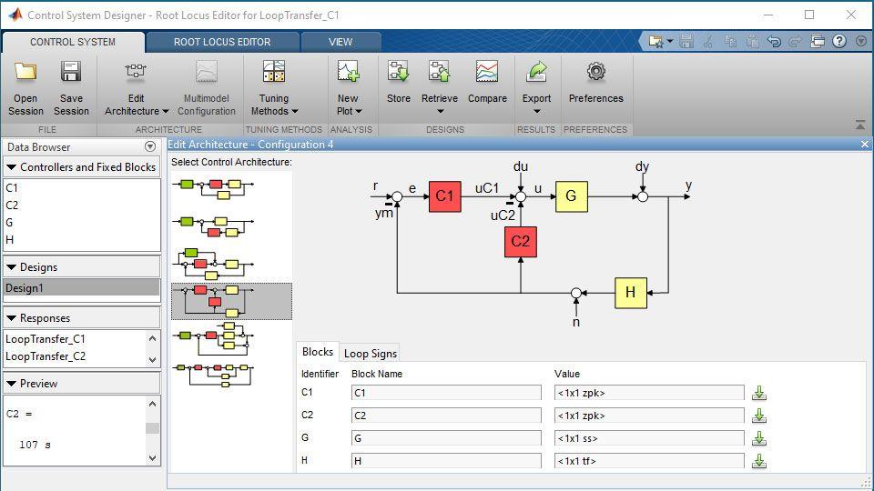 Spécification d'une architecture de système de contrôle multi-boucles dans l'application ControlSystemDesigner