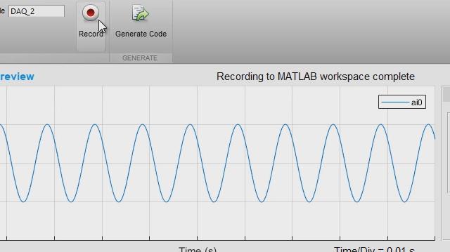 L'application Analog Input Recorder vous aide à démarrer rapidement avec Data Acquisition Toolbox. Vous pouvez configurer une session de manière interactive, acquérir des données directement dans l'espace de travail MATLAB et générer du code MATLAB pour automatiser vos acquisitions ultérieures.