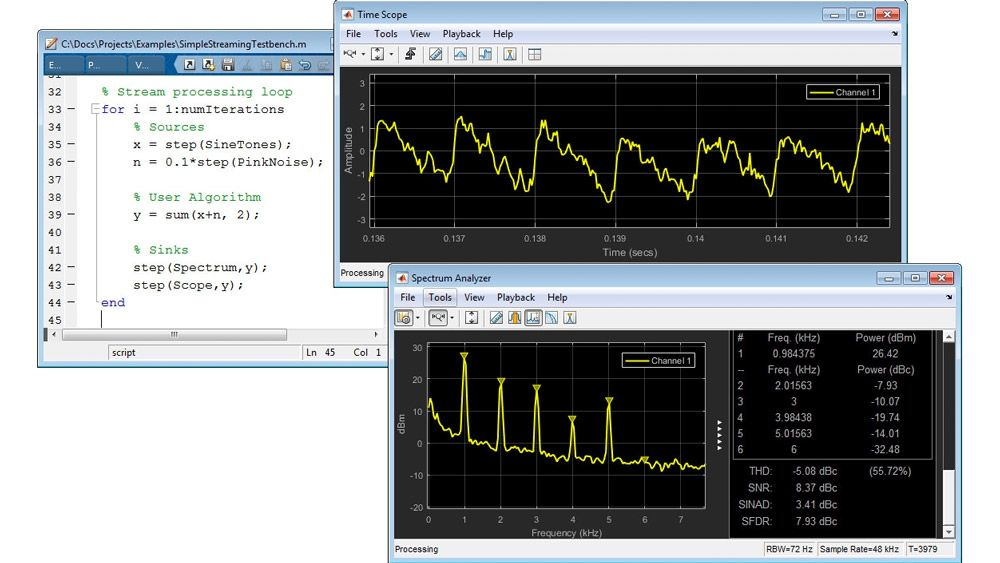 Traitement du signal en streaming dans MATLAB