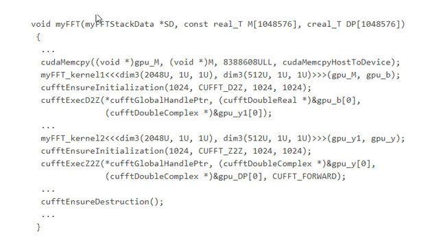 Code généré appelant des fonctions dans la bibliothèque cuFFT CUDA optimisée.