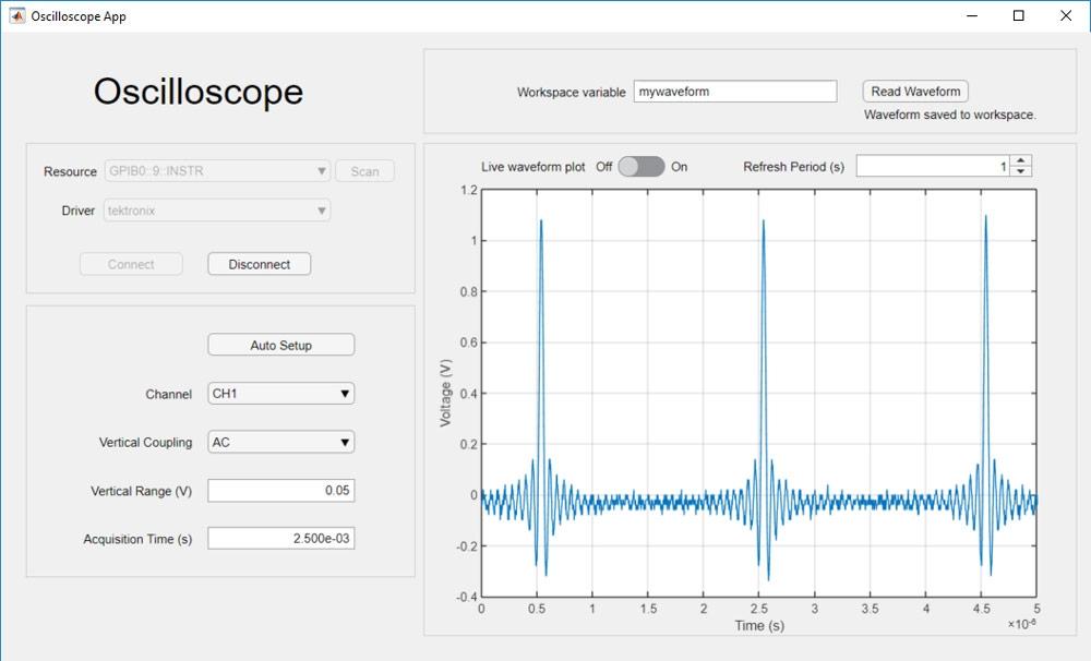 Application permettant de collecter des données et de régler les paramètres d'un oscilloscope.