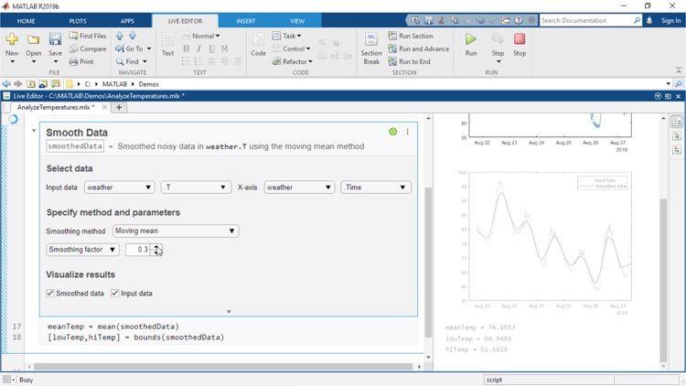 Les tâches du Live Editor sont des applications pouvant être intégrées dans un live script. Elles vous permettent d'explorer interactivement les paramètres et les options, d'obtenir un aperçu immédiat des résultats et de générer automatiquement le code MATLAB correspondant pour la tâche effectuée.