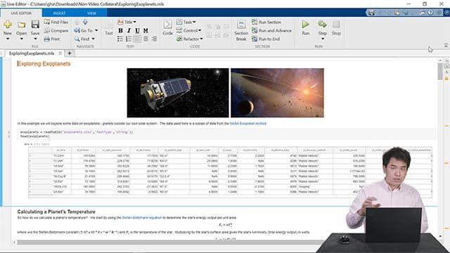 Démonstration des fonctionnalités de Live Editor, telles que la création d'un bloc-notes, le partage de tâches avec d'autres utilisateurs et la rédaction plus rapide de code.