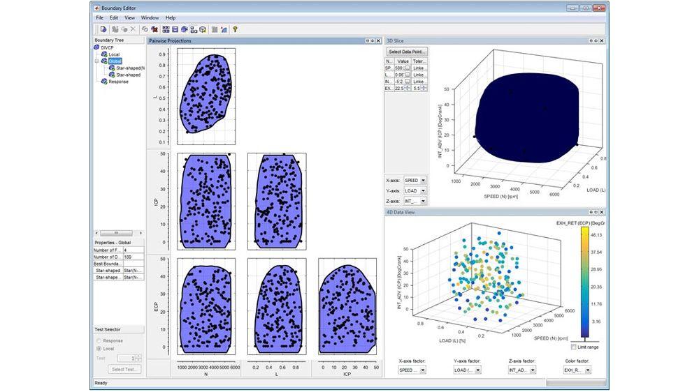 Utilisez l'éditeur de limites pour définir et visualiser la région de test réalisable et les conditions de test associées.
