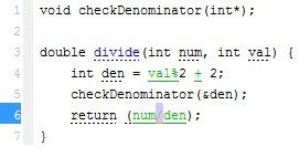 den is assigned a value between 1 and 3 during declaration