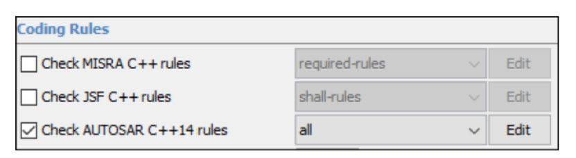Screenshot  of R2019a Polyspace options for checking coding rules.