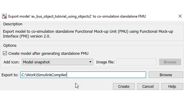 Possibilité de réintégrer automatiquement la FMU dans Simulink après sa création.