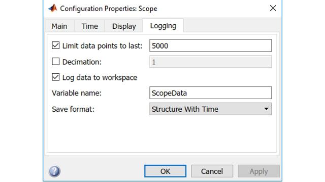 Définir les paramètres du bloc Scope pour l'enregistrement dans l'espace de travail.