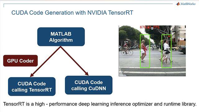 Générez du code CUDA à partir d'un réseau neuronal profond entraîné dans MATLAB. Exploitez la bibliothèque NVIDIA TensorRT à des fins d'inférence sur des GPU NVIDIA en utilisant une application de détection de piétons à titre d'exemple.