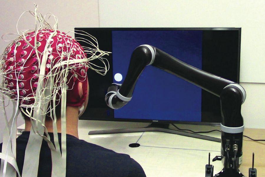 Une interface cerveau-machine (ICM) non invasive. Crédit: Université Carnegie Mellon