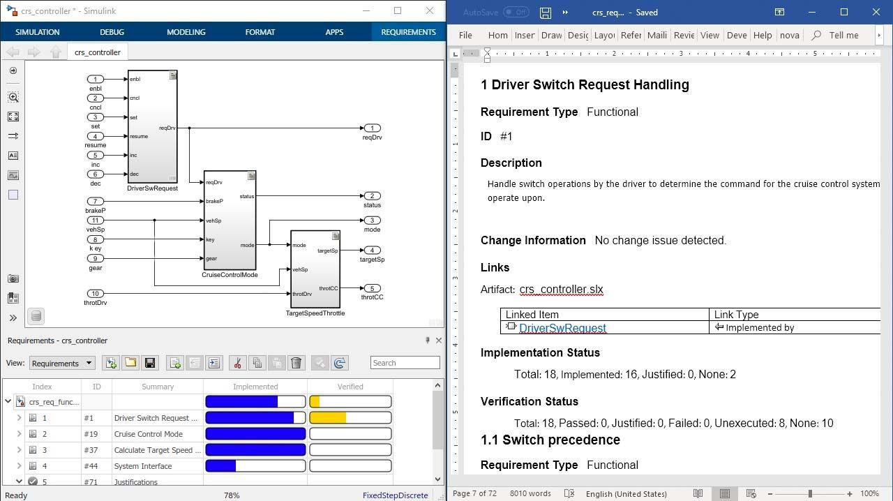 Documentez vos exigences pour la vérification avec des rapports de Simulink Requirements et ajoutez les attributs des exigences, le statut et la traçabilité au design, au code et au texte.