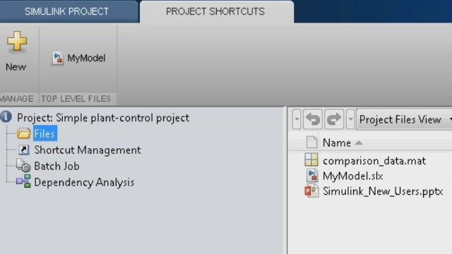 Use Simulink Projects to manage all the models and documents related to your project. Easily track and work with your files, and allow team members to access all documents.