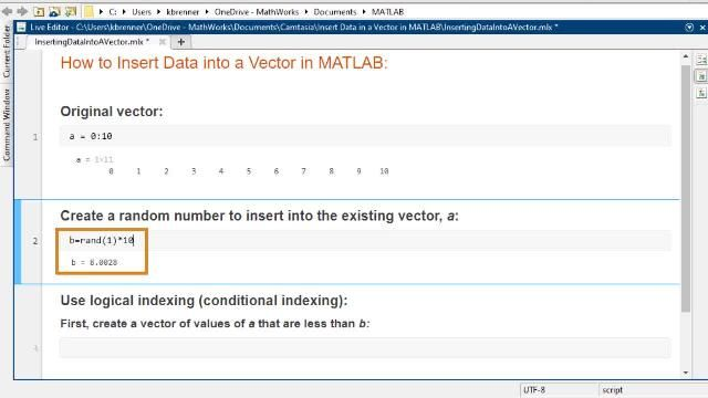 Learn how to insert additional values into a vector in MATLAB.