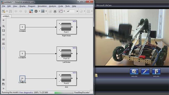Use Simulink in external mode with your VEX Cortex-based Microcontroller to tune parameters.