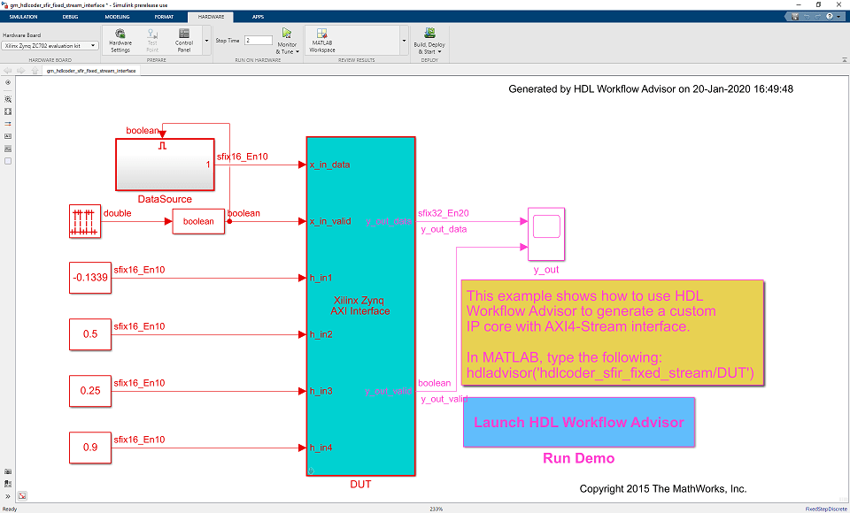 Although the AXI4-Lite driver is automatically generated in the software  interface model, the AXI4-Stream driver block cannot be automatically  generated.