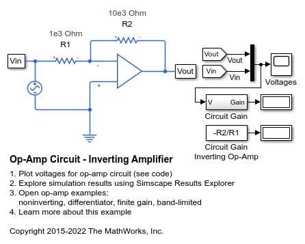 Pleasing Op Amp Circuit Inverting Amplifier Matlab Simulink Mathworks Wiring Digital Resources Unprprontobusorg
