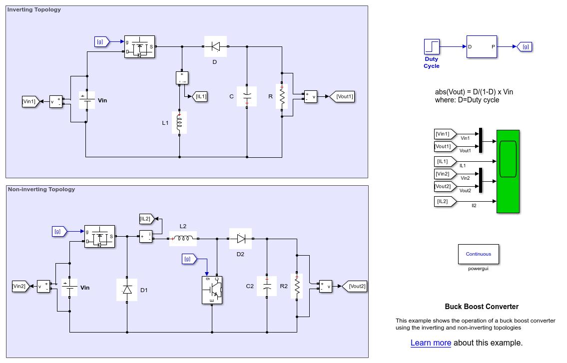 Buck Boost Converter Matlab Simulink Basic Single Output Flyback Circuit Diagram