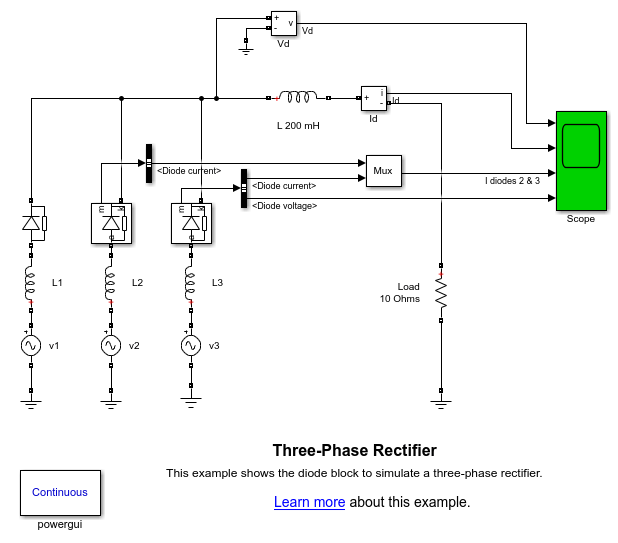 Three-Phase Rectifier - MATLAB & Simulink on 3 phase power, 3 phase current, 3 phase capacitors, 3 phase ohm's law, 3 phase circuits, 3 phase block diagram, 3 phase fuse box, 3 phase heating coil, 3 phase installation, 3 phase electrical, 3 phase voltage, 3 phase wiring for dummies, 3 phase troubleshooting, 3 phase high leg delta, 3 phase service, 3 phase specification, 3 phase transformer flux, 3 phase blueprints, 3 phase inductor, 3 phase heating element diagram,