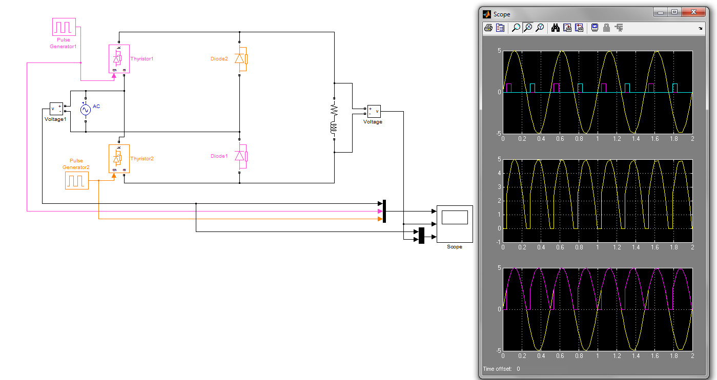 Phase Contolled Rectifierhalf Controlled File Exchange Matlab Halfwave Rectifier Circuit Simulator