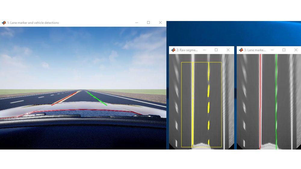 Lane Marker Detection in a 3D Simulation Environment.