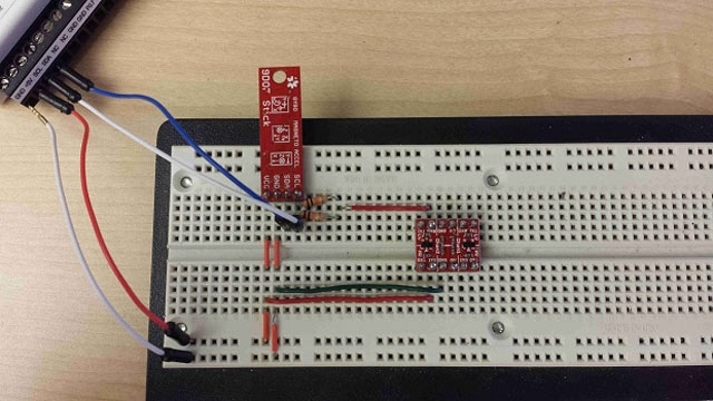 Read data from a digital accelerometer using I2C.