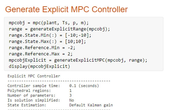 Generating an explicit MPC controller from a previously designed implicit controller.