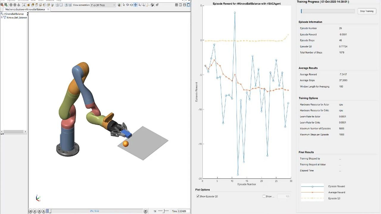 See how to use Reinforcement Learning Toolbox to solve control tasks in complex dynamic systems such as a redundant robot manipulator.