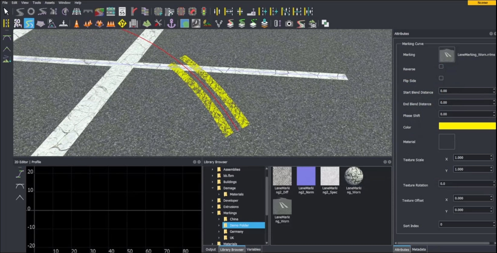 Demonstration of creating lane markings including material properties, textures, and lane marking styles.