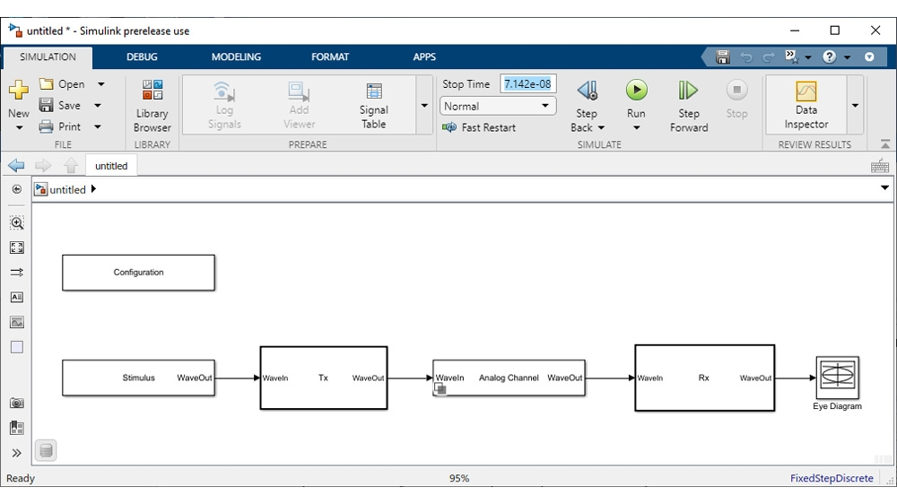 Simulink model generated with the SerDes Designer app for time-domain simulation. System-level configuration (left) and channel parameters (right).