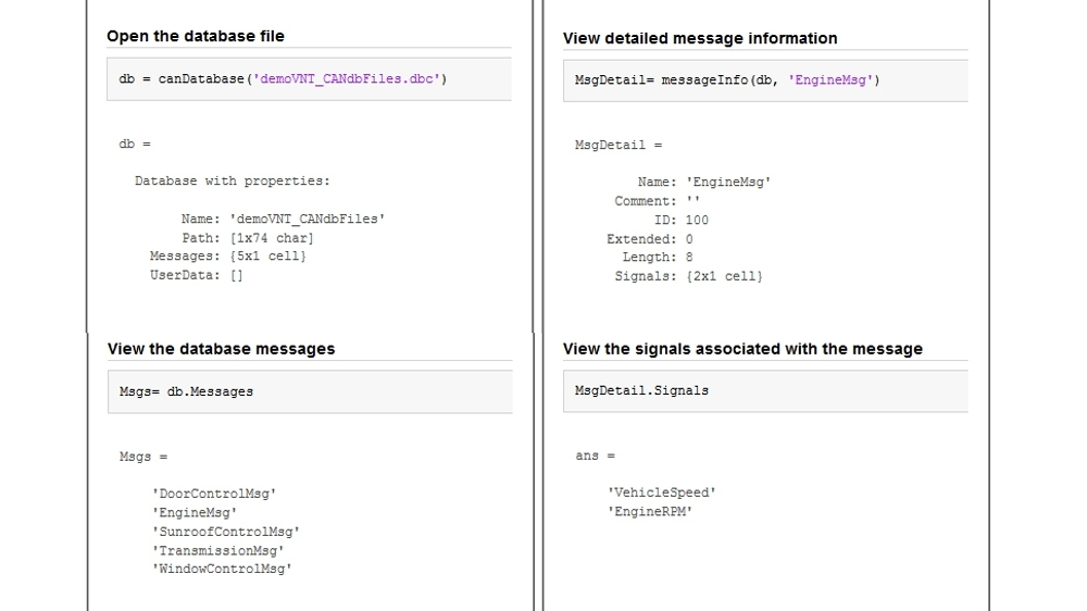 Code example showing how to view messages using information stored in CAN database files.