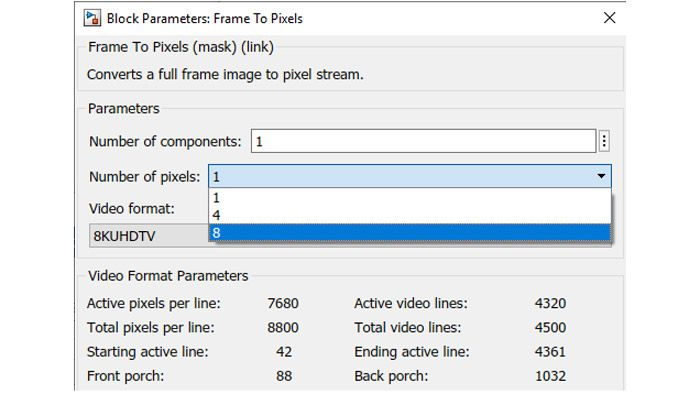 Specify processing of up to 8 pixels in parallel in the Frame To Pixels conversion block.