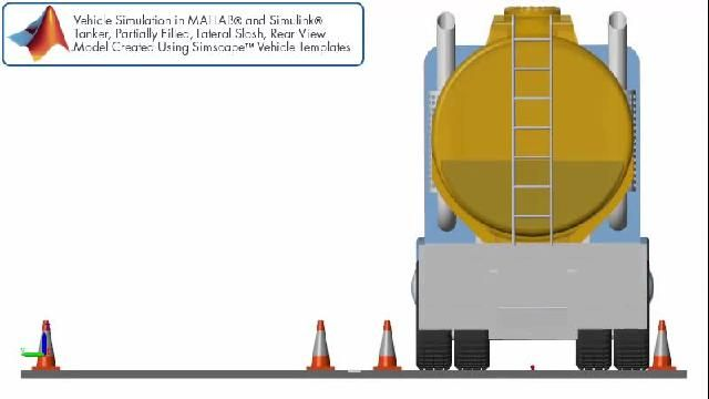 Vehicle simulation with lateral slosh in a tanker trailer viewed from the rear.
