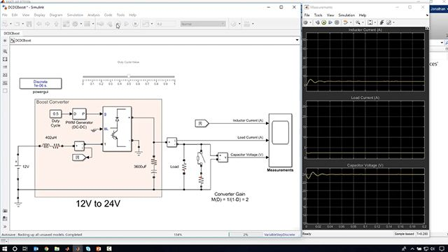 Learn how to use Simulink and Simscape Electrical to simulate the power output of a photovoltaic (PV) panel, model a boost converter, and tune a feedback controller to adjust the converter duty cycle based on varying loads.