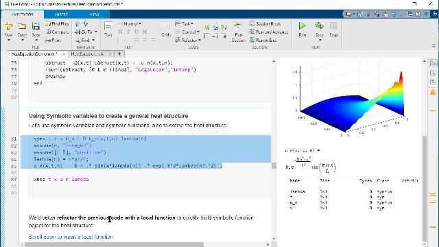 Live Scripts for Online Teaching: Solving a Heat Equation Example