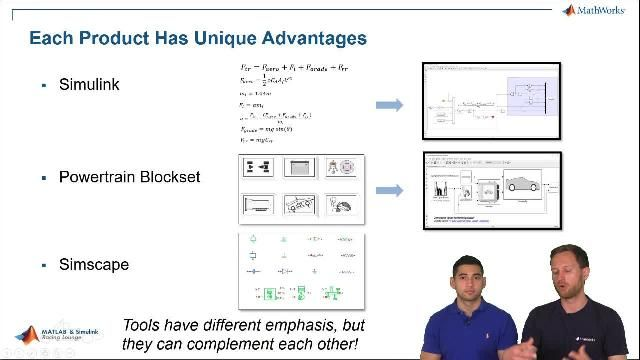 Ed Marquez and Christoph Hahn from MathWorks show you how to create vehicle models for simulations of different powertrains using Simscape. Simscape is the language of physical modeling and it also allows users to model multi-domain systems.