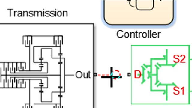 Model an automatic transmission using gears and clutches from Simscape Driveline. The control logic is modeled as a state machine in Stateflow .