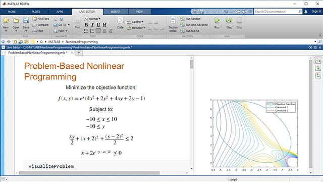 Express and solve a nonlinear optimization problem with the problem-based approach of Optimization Toolbox. Use nonlinear functions in both the objective function and constraints. Solve with an automatically selected solver.
